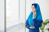 Pensive Muslim manager — Stock Photo