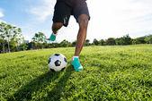 Kicking the ball — Stock Photo