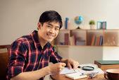 Asian student doing homework — Foto Stock