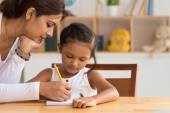 Woman helping daughter with homework — Stock Photo