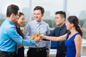 Business team toasting and celebrating — Stock Photo