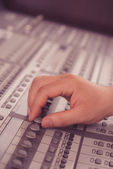 Working with music mixer — Stock Photo