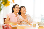 Two smiling mature women — Stock Photo