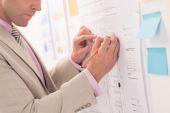 Engineer improving blueprint of the house — Stock Photo