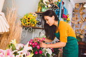 Working at flower shop — Foto Stock