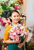 Seller with flowers — Foto Stock