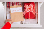 Gift box in   drawer — Foto de Stock