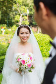 Cheerful Asian bride — Stock Photo