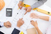 Discussing blueprint — Stock Photo