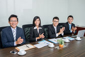 Applauding business team — Stock Photo