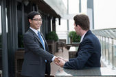 Greeting his partner — Stock Photo