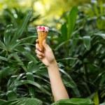 Hand with strawberry ice-cream — Stock Photo #63671585