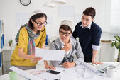 Designer showing ideas to the architect — Stock Photo