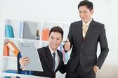 Businessman praising his young colleague — Stock Photo