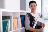 Vietnamese student with a digital tablet — Stok fotoğraf