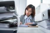 Pretty busy bookkeeper — Stock Photo