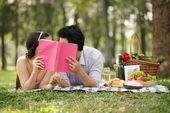 Couple kissing on the romantic picnic — Stock Photo