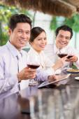 Asian business team celebrating success — Stock Photo