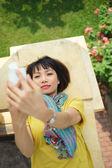 Stylish woman taking selfie — Foto de Stock