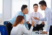 Emotional negotiations  in the office — Stock Photo