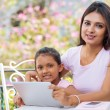 Mother and daughter using digital tablet — Stock Photo #72198639