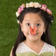 Girl with butterfly on nose — Stock Photo #72199789