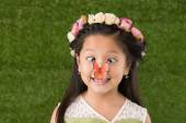 Funny girl with butterfly — Stock Photo
