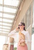 Woman calling on phone — Stock Photo