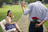 Couple meeting in the park — Stock Photo