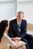 Psychologist reassuring patient — Stock Photo