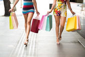 Two females walking with shopping bags — Stock Photo
