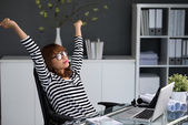 Manager stretching arms — Stock Photo