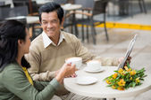 Senior married couple in a cafe — Stock Photo