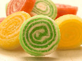 Tasteful candies with crystal sugar — Stock Photo