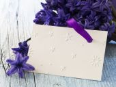 Blank note with spring flowers — Stock Photo