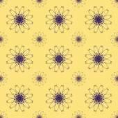 Print Seamless Pattern.Purple Mandala Flowers with Yellow background. — Stock Photo