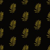Print Seamless Pattern. Sepia Leaves with Dark background. — Stock Photo