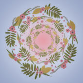 Floral Round Frame with leaves, pink flowers and Blue background. — Stock Photo
