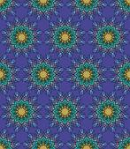 Piękny wektor wydruku bez szwu Pattern.Green Mandala kwiaty z niebieskim tle. — Wektor stockowy