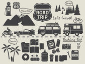 Road trip packing list infographic elements — Stock Vector