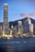 Hong Kong Harbour twilight, blur bokeh light — Stock Photo
