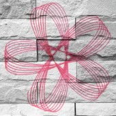 """spirograph"" Mural. The brick painting concept — Fotografia Stock"