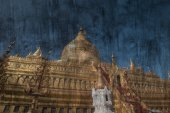 """ancient pagoda"" The cement painting concept — Fotografia Stock"