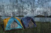 """""""camping near lake"""" The cement painting concept — Stockfoto"""
