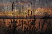 """""""západ slunce na jezeře"""" pojetí malířství cementu — Stock fotografie"""