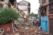 KATHMANDU, NEPAL - MAY 1, 2015: Swayambhunath damaged after the — Stock Photo