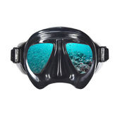 Mask with ocean cencept montage — Stock Photo