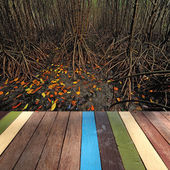 Wood table top on mangrove background montage concept — Stok fotoğraf