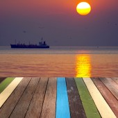 木製テーブル シースケープ背景モンタージュ論トップ — ストック写真