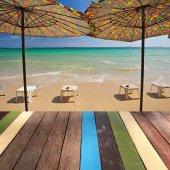 Wood table top on seascape background montage concept — Foto de Stock